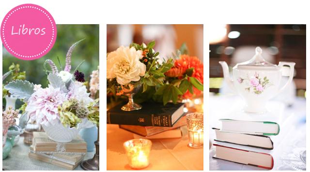 Libros como centros de mesa para tu boda