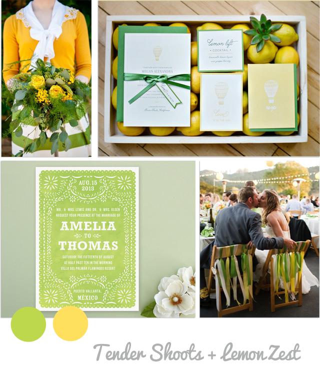 Colores primavera boda 2013 pantone amarillo y verde