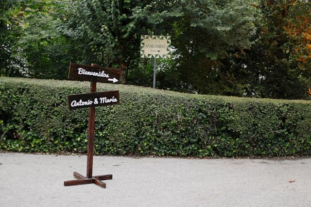 señal madera cartel boda bienvenida