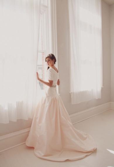 vestido manga corta novia