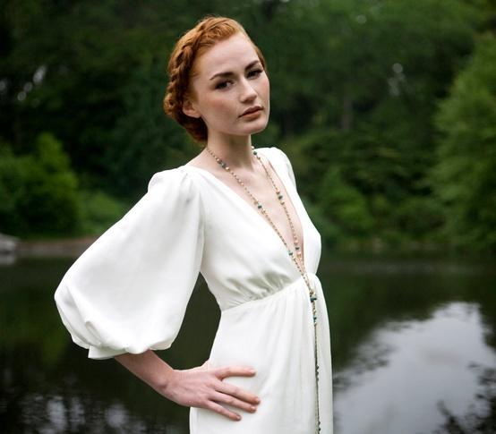 vestido manga larga abullonada novia