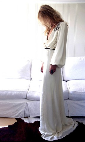 Vestido manga larga novia