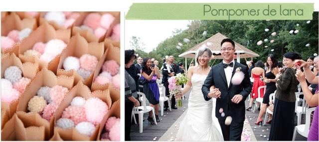 alternativas arroz bodas pompones de lana