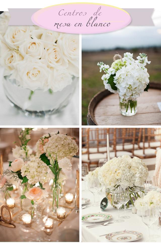 centros de mesa boda color blanco