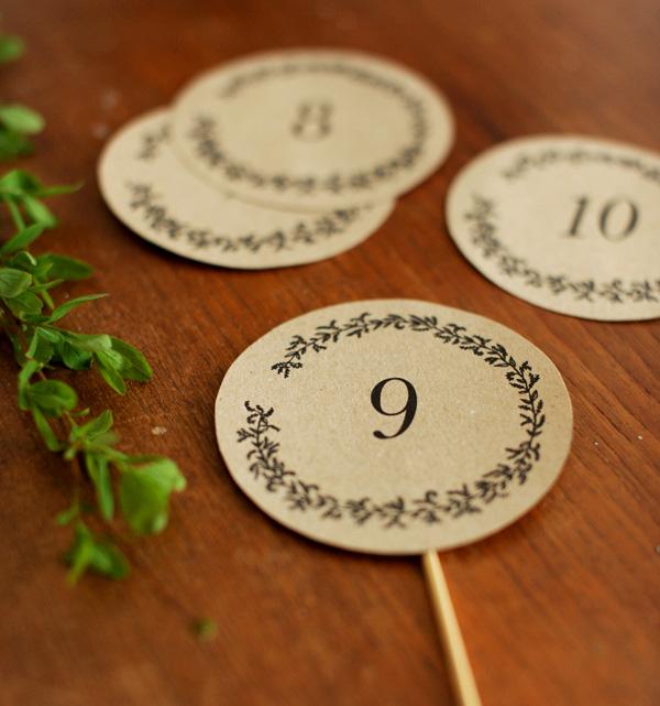 numeros de mesa rustico boda imprimible