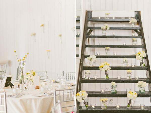 11 decoración salón una boda moderna en amarillo y gris