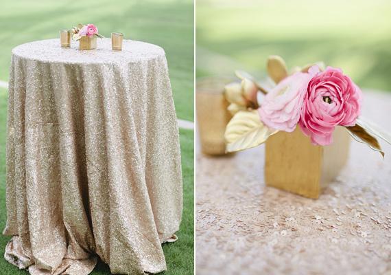 12 detalle decoración boda dorado lentejuelas rosa