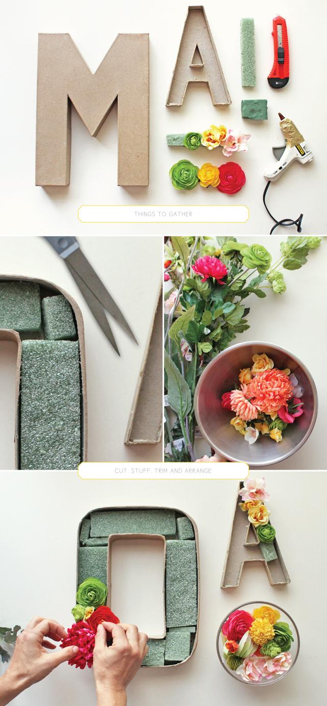 2 iniciales con flores y carton