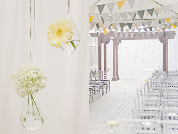 5 decoración ceremonia una boda moderna en amarillo y gris