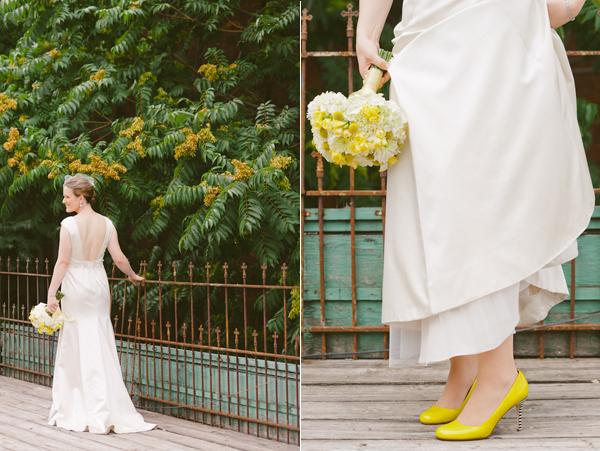 8 vestido novia una boda moderna en amarillo y gris