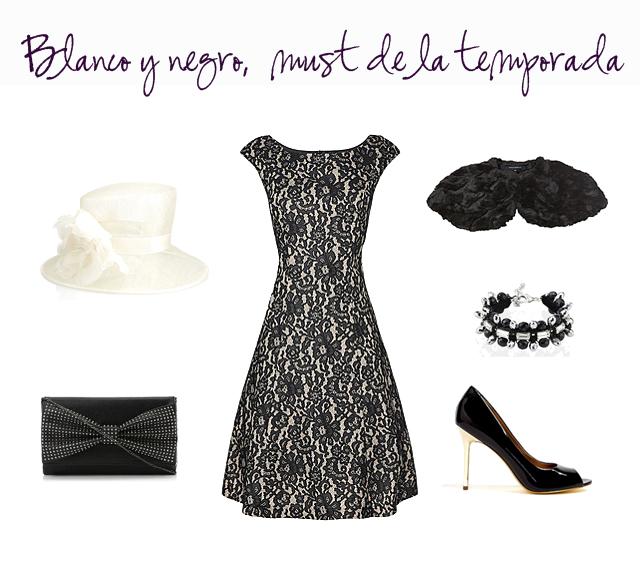 outfit boda vestido invitada blanco y negro