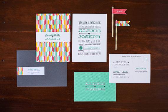 2 invitaciones modernas y coloristas