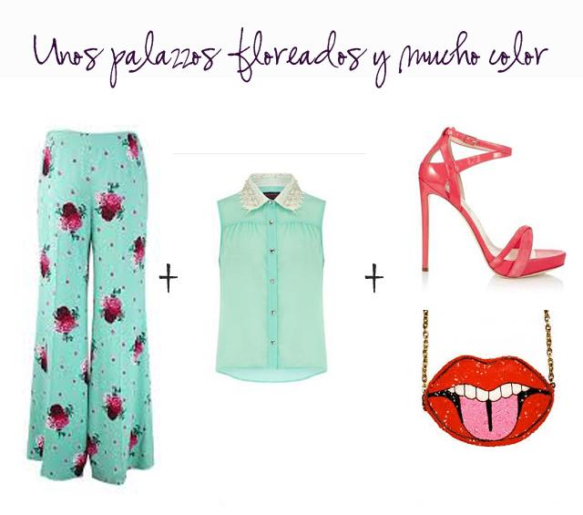 look invitada boda pantalones palazzo flores