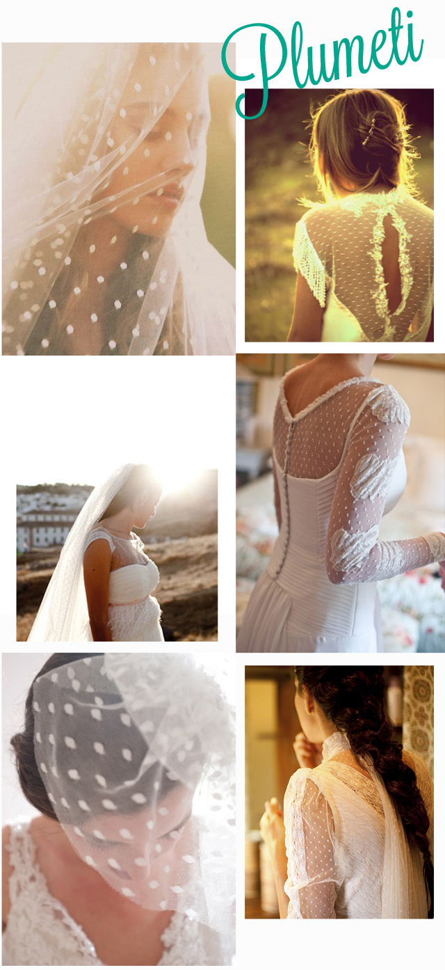 vestidos  tocados de novia plumeti