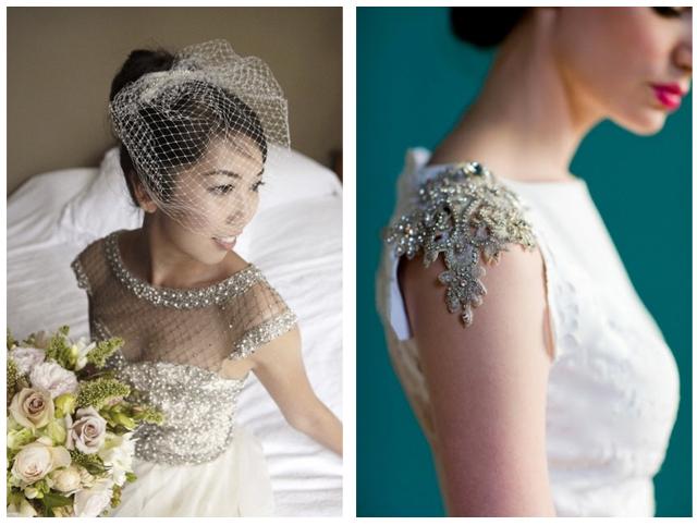 vestidos de novia: detalles en los hombros –