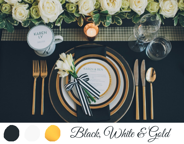 colores para boda 2014 blanco negro y dorado