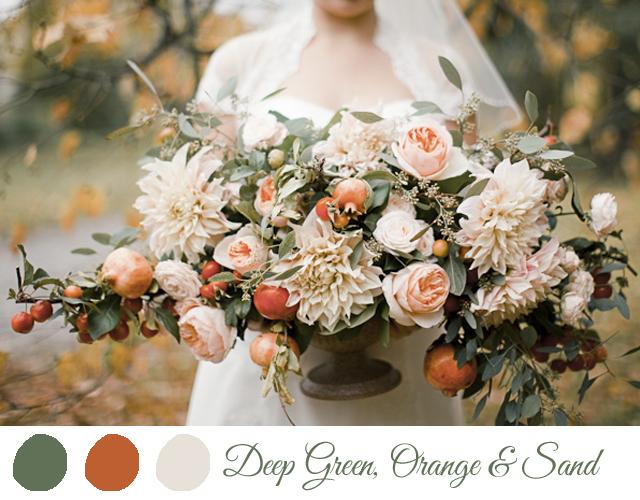 colores para boda 2014 verde, naranja marron 2