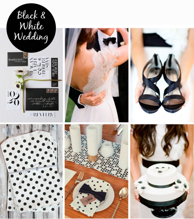 inspiration board black white wedding