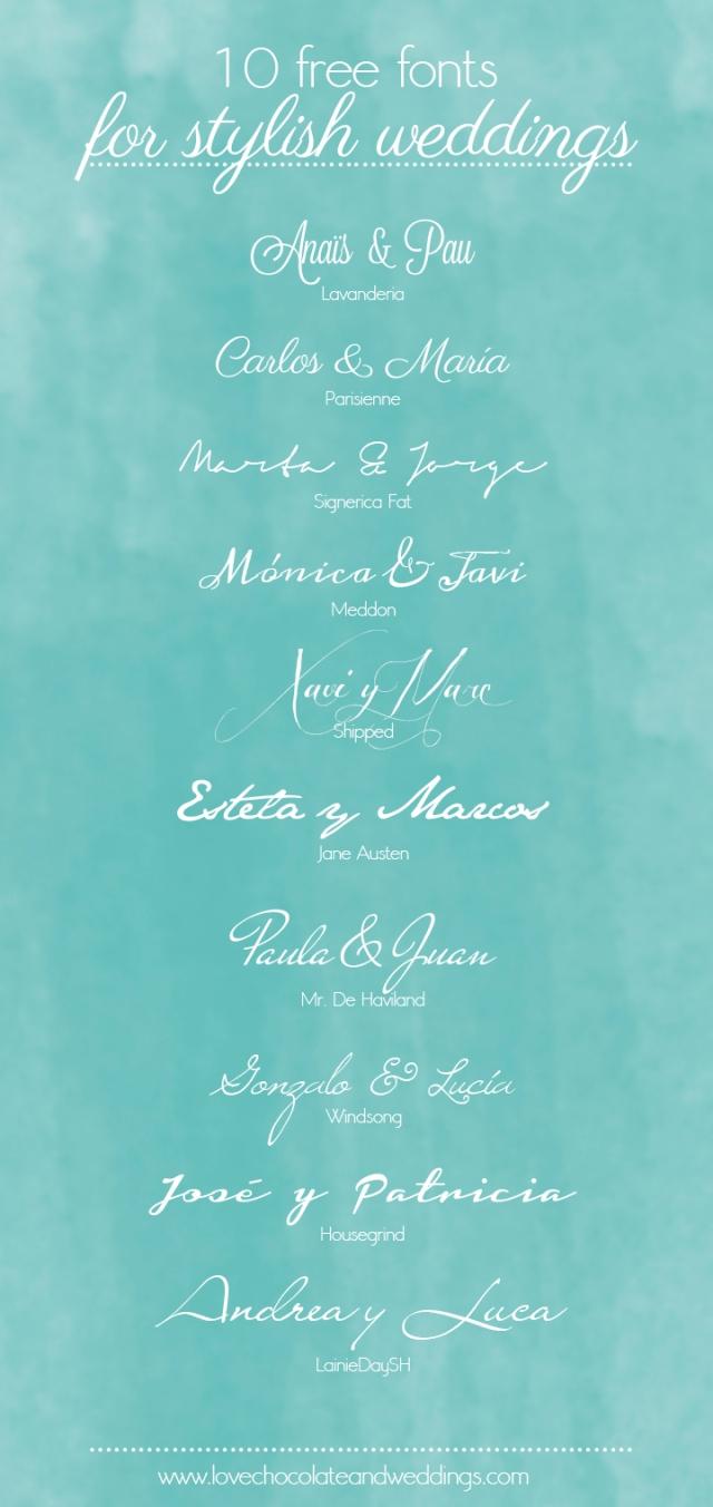 Fuentes gratis para bodas invitacions