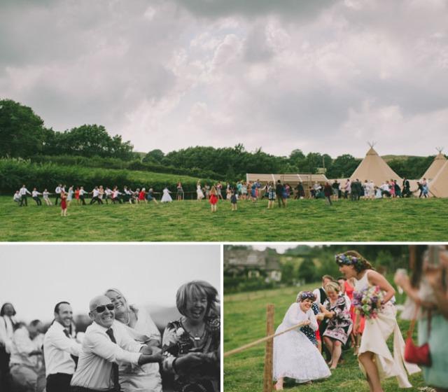 boda informal al aire libre carpa circo novia corona de flores (16)