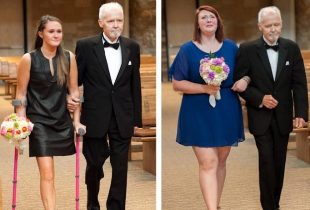 padre con cancer llevando a las hijas al altar boda (1)