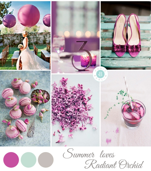 pantone color 2014 radiant orchid  wedding inspiration board