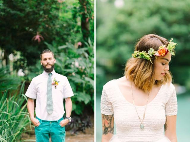 boda romántica bohemia novia vestido corto novio con barba (11)