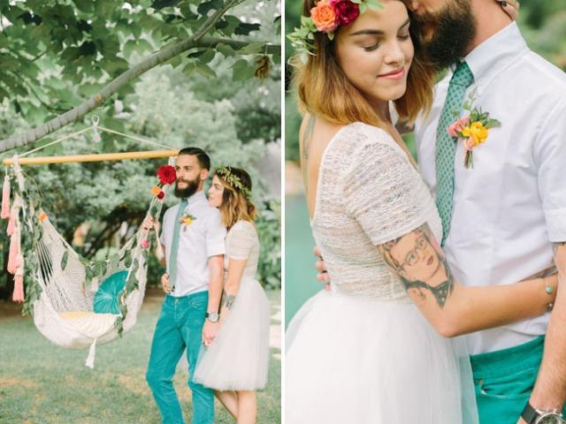 boda romántica bohemia novia vestido corto novio con barba (13)