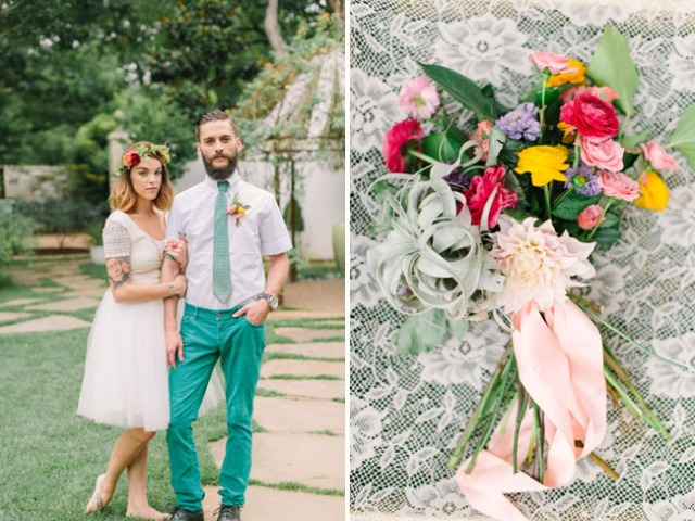 boda romántica bohemia novia vestido corto novio con barba (16)